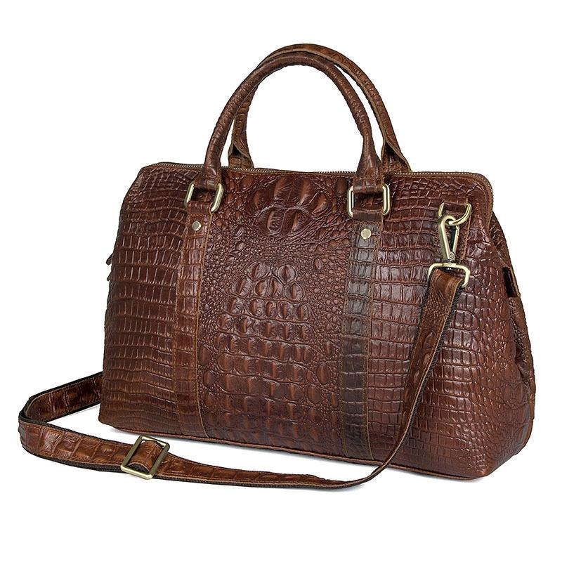 Vintage Men Handbag Laptop Briefcase Male Alligator Genuine Leather ... 720a3bbdb4a36