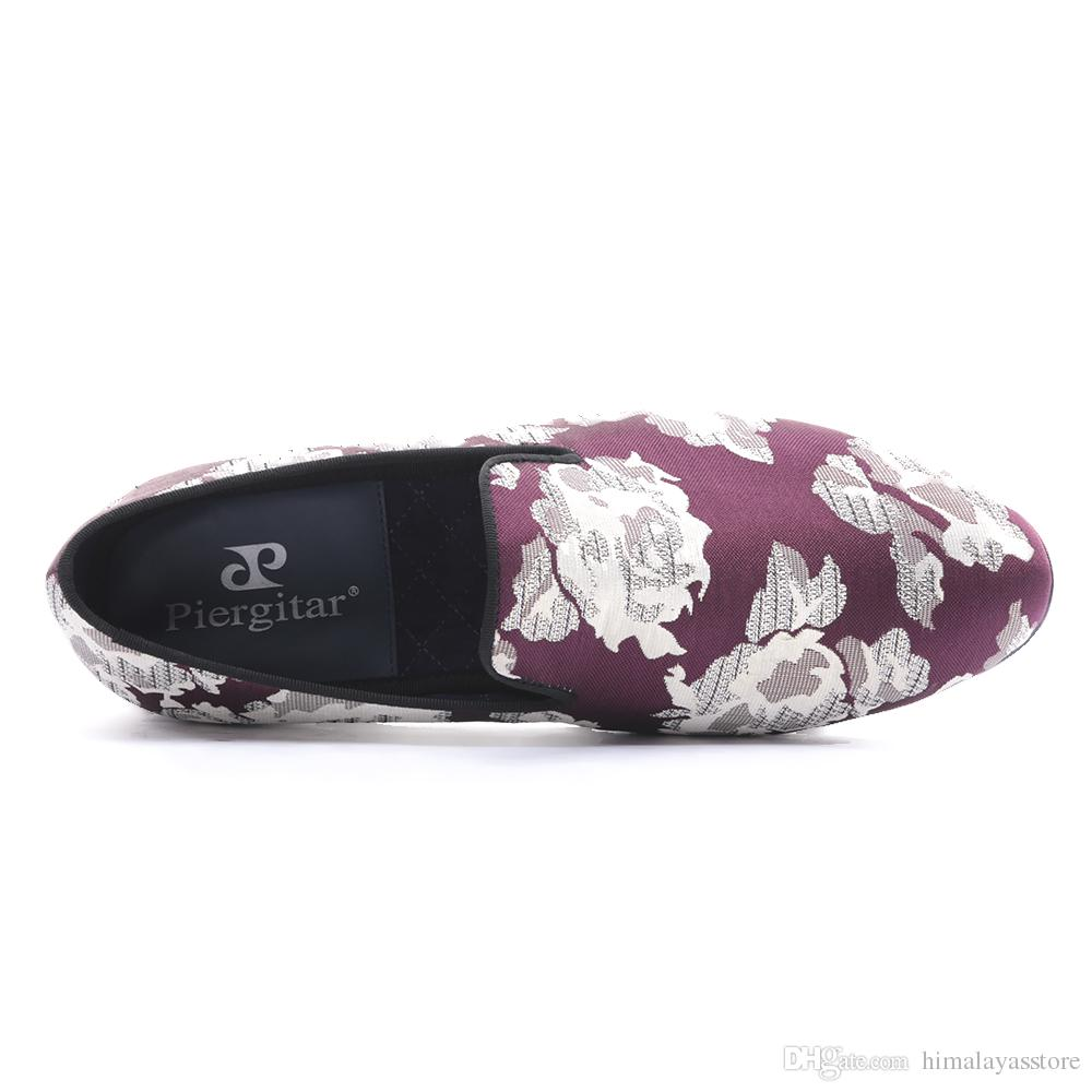 new arrival Purple jacquard fabric with White flowers handmade men loafers party and prom men dress shoes