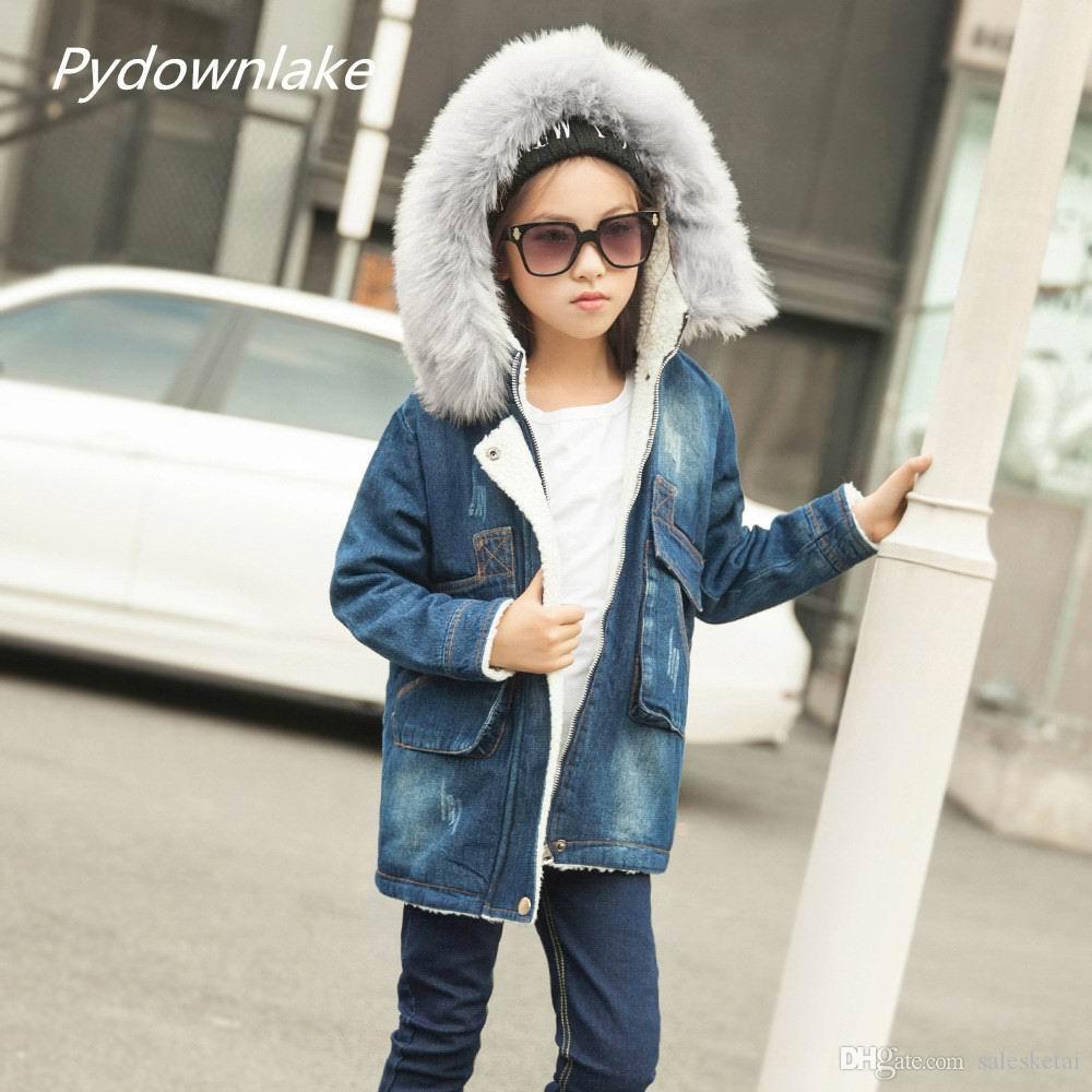 99b720556288 Pydownlake Детская Верхняя Одежда Теплые Джинсы Пальто Детская Одежда  Ветрозащитный ...