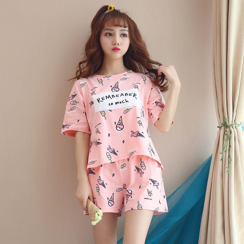 2102551790bb 2019 Summer Women Pajamas Set Cute Print Set Cotton T Shirt Top + Shorts  Sleepwear Elastic Waist Plus Size Home Wear Pyjamas From Baiyulanflo