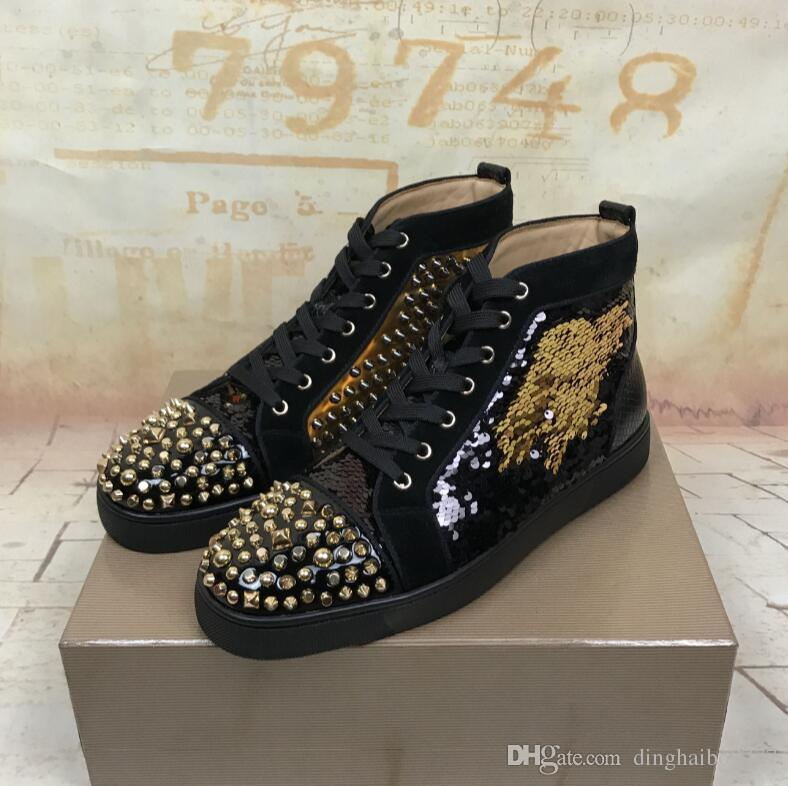low priced 97708 bdb16 2018 New Luxury Black Gold Glitter Sequins Red Bottom Shoes Designer High  Top Spikes Toe Genuine Leather Flats Party Wedding Sneakers