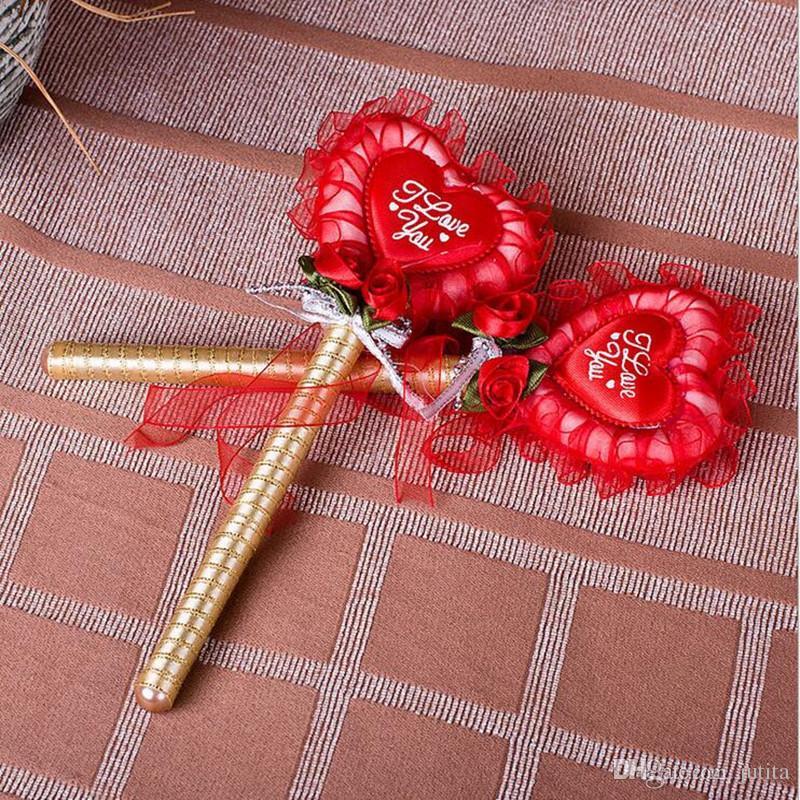 Romantic Love Heart Flower Wedding Sign Pen Table Decoration Signature Pen Event Party Supplies