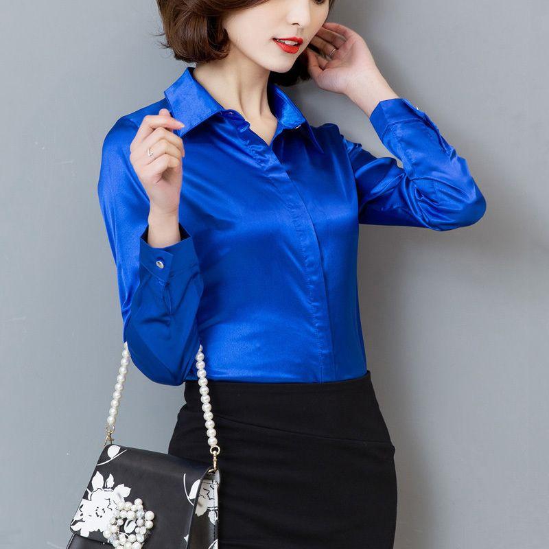 a8df19ab19c 2019 Women Silk Satin Blouse Button Long Sleeve Lapel Ladies Office Work  Shirts Elegant Female Satin Silk Blouses Shirt From Wanglon08, $30.42 |  DHgate.Com