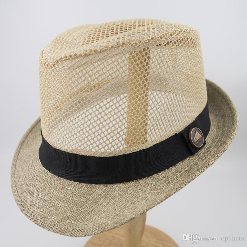 783b81913cb 2019 Linen Mesh Fabric Stingy Brim Fedora Dad Men Designer Hat Women Ladies  Hats For Summer Beach Holiday Classic Jazz Hats EPU MH1827 From Epuhats