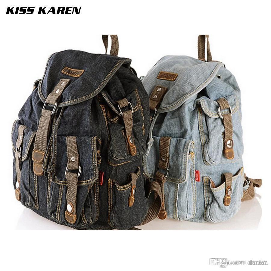 384fa1de0 Compre Venta Al Por Mayor KISS KAREN Vaquero Moda Denim Informal Mochilas  Para Mujer Mochilas Estilo Retro Mochila Bolsos Jeans Bolsos Señoras  Mochila De ...