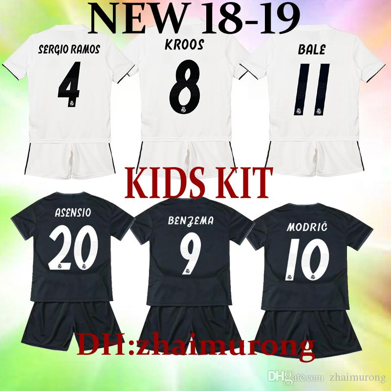afe3f5332a8 2019 2018 2019 Real Madrid Kids Kit Football Jersey 18 19 Home White Away  Black 3rd Boy Soccer Jerseys HAZARD Bale ISCO Child Soccer Shirts From  Zhaimurong