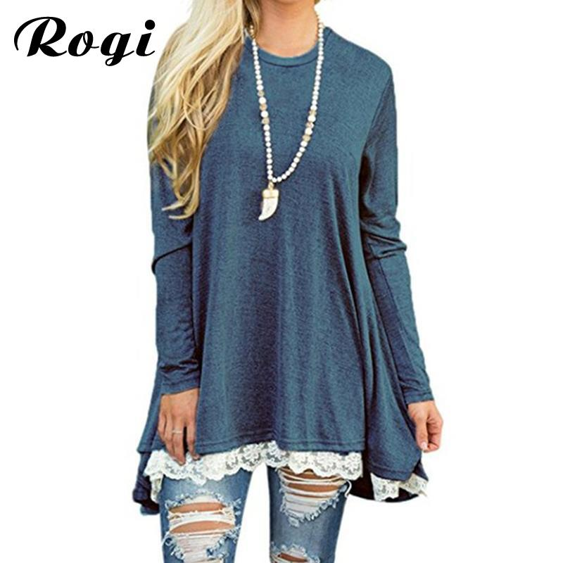 ef07b6853c Rogi Lace Shirts Women 2018 Womens Tops And Blouses Long Sleeve Splice  Shirt Women Tunic Tops Casual Loose Patchwork Lace Blouse Y1891109