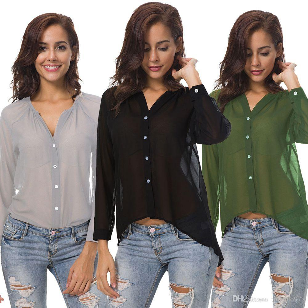 2019 Plus Size Women Blouses Fashion Long Sleeve Button Down High Low Sheer  Chiffon Shirts Black Green Gray S 5XL From Tinaguo977 79b96575f