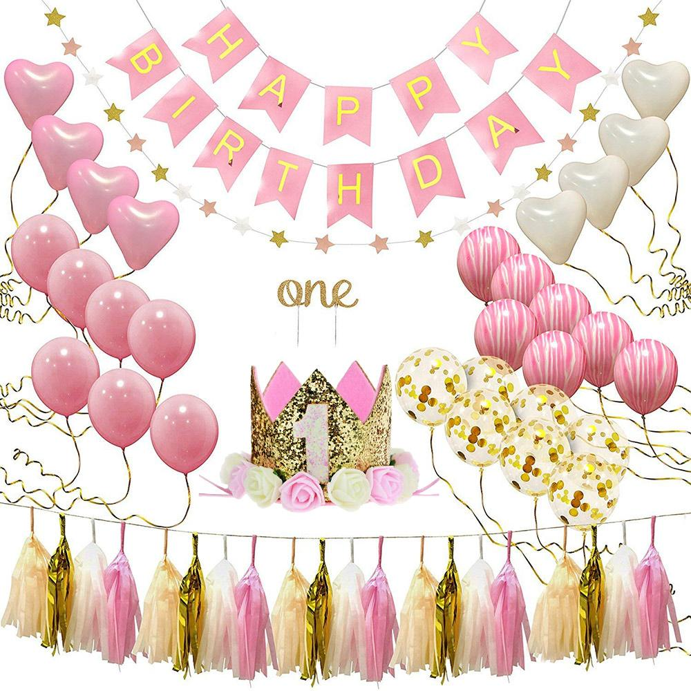 One Year Old Baby Birthday Party Balloon Set Pink Aluminum Latex Decorations Kids Shower Supplies Huge Helium Baloon From