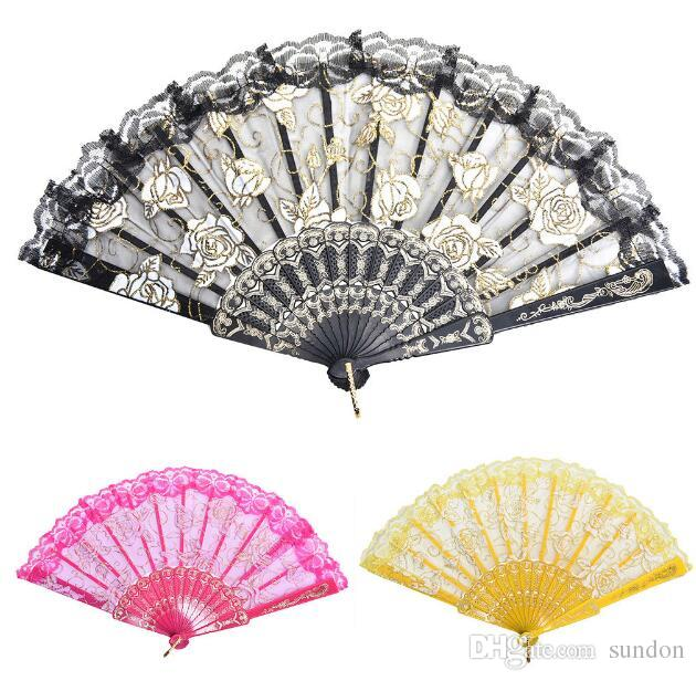 Lace Spanish Fabric Silk Folding Hand Held Dance Fans Flower Party Wedding Prom Dancing Summer Fan Accessories