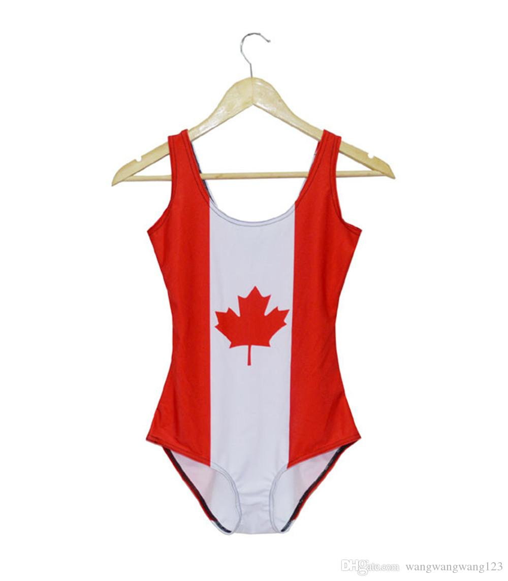 EUA Sexy Canadá Tendência Bandeira Maple Leaf Impressão one piece Praia Biquíni Leotard Ouro Vermelho Sassy Menina Teddy Fino Cintura Alta Swimwear Poliéster