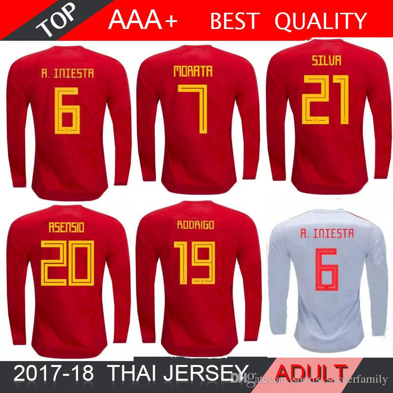 detailed look fa1bf 516bf 2018 World Cup long sleeves 18 19 Spain soccer jersey national team home  A.INIESTA MORATA RAMOS ASENSIO ISCO SAUL Football shirt AWAY