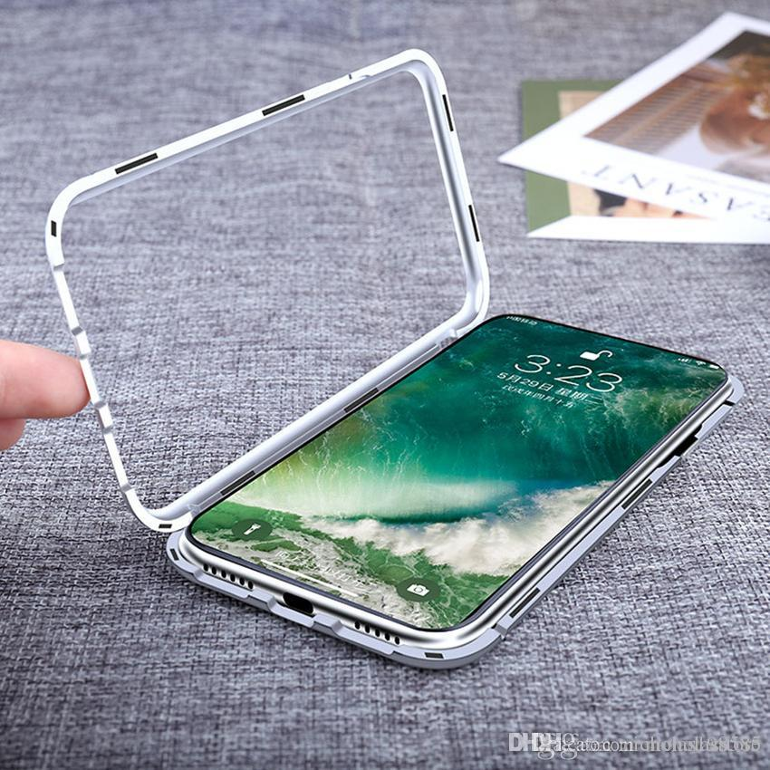 reputable site 097a4 9918b Easy Install Magnet Absorption Aluminum Metal Frame Magneto Phone Cases  Anti-Scratch Tempered Glass Back Cover For IPhone X 6s 7 8 Plus