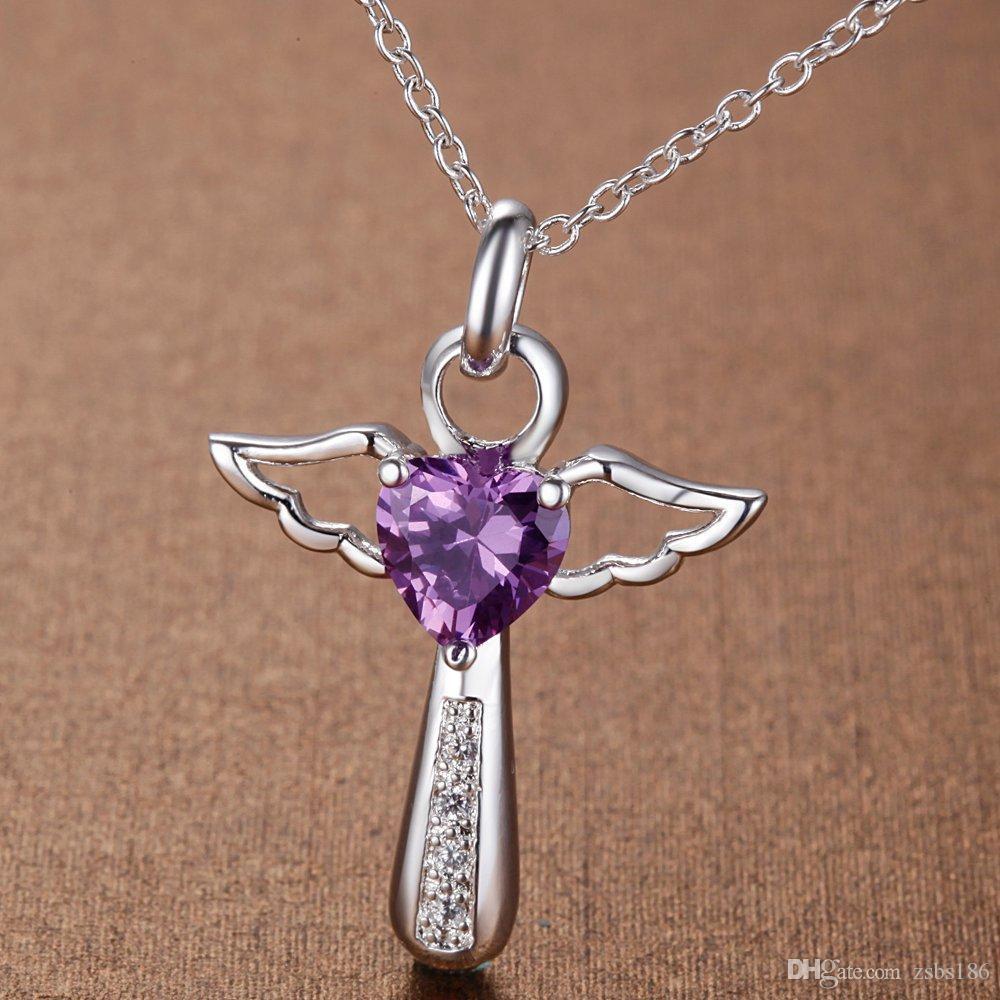 Горячие продажи 925 посеребренные Крылья ангела в форме сердца крест кулон ожерелье с Циркон мода женская партия ювелирные изделия рождественские подарки