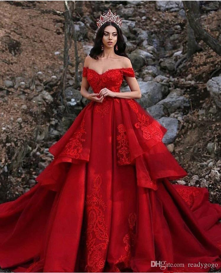 Discount Dubai Red Wedding Dresses A Line Tiered Skirts Off The
