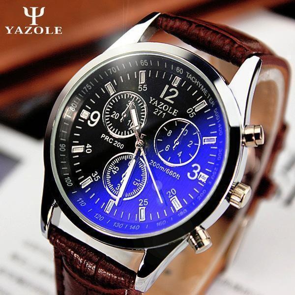 4928ab3e510 ... Yazole Men Relógios De Luxo Da Marca Relógios De Quartzo Relógio De  Moda Cintos De Couro Assistir Esportes Baratos Relógio De Pulso Relogio  Masculino De ...