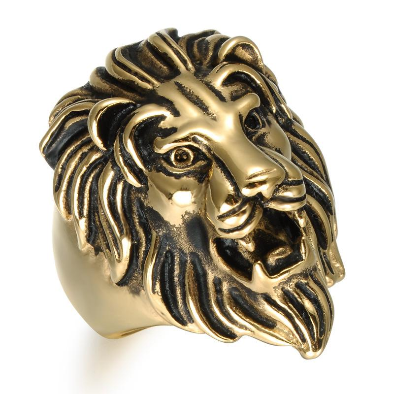 3915f01a55 Titanium Stainless Steel Men Signet Viking Rings Hip Hop Vintage Punk  Engrave King Animal Lion for Male Hiphop Charms Jewelry