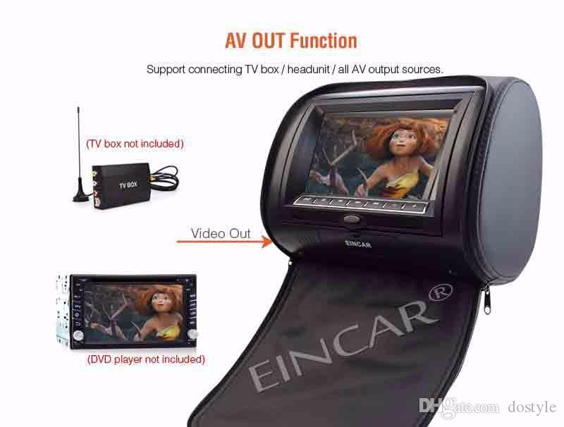 EinCar Black 2 X Twin Car DVD headrest player 9'' HD Touch key FM 32 Bits Games MPof monitors Dual Screen