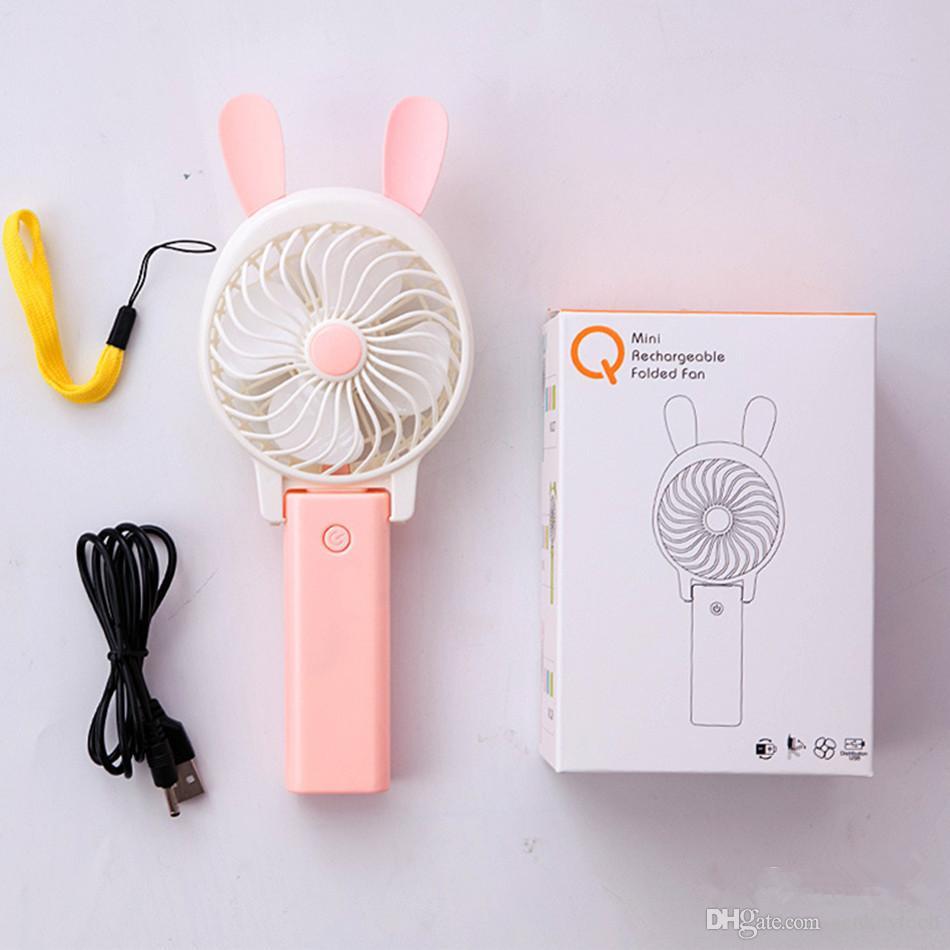 Мини складной Портативный вентилятор мультфильм CatRabbit стиль USB аккумуляторная складной Портативный мини вентилятор воздушного охлаждения вентилятор дети подарок розничная коробка
