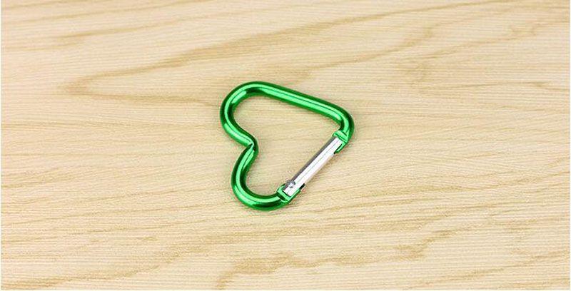 Cute Love Mini Heart Shaped Aluminum Alloy Locking Mounting Carabiner Snaphook Hook Holder 40*44mm ZA6065