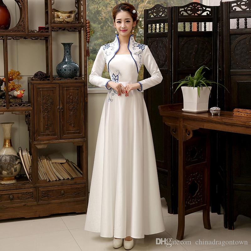e3ae8a862c14 2019 New Traditional China Costume Long Party Woman Dresses Spring And  Autumn Vintage Chinese Qipao National Style Improved Cheongsam Dress From  ...