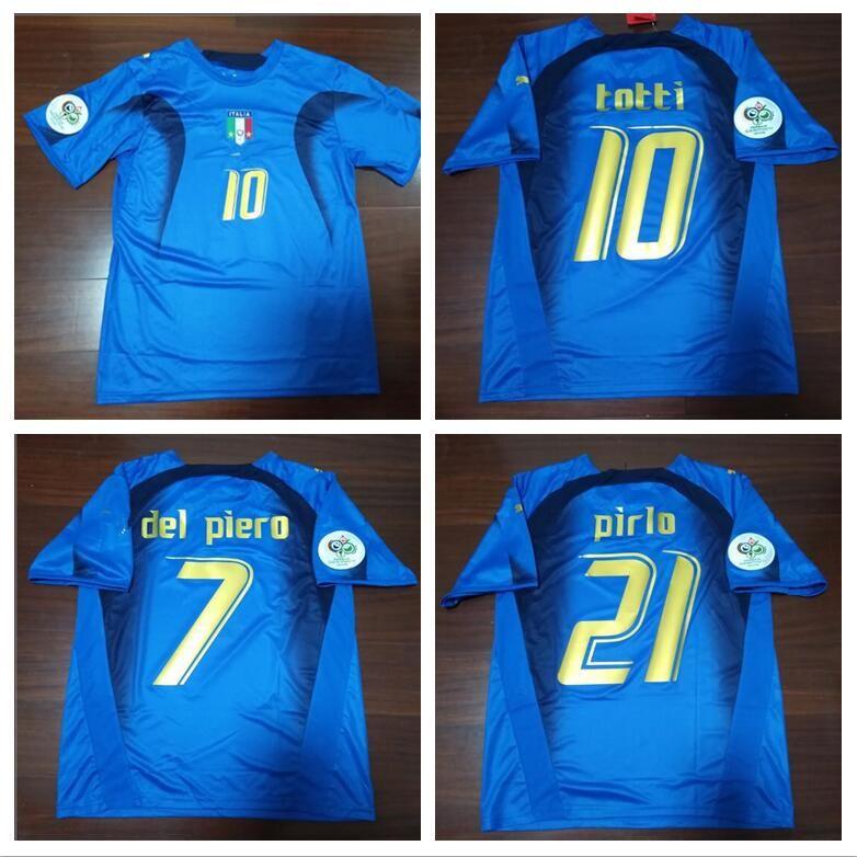 wholesale dealer 8bfcc 2f956 World Cup 2006 Italy Retro Jersey Cannavaro Francesco Totti Del Piero Nesta  Inzaghi Pirlo Materazzi 06 Italia Football