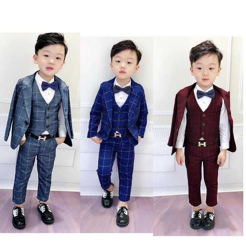 8f9fe7afd Compre Conjunto De Ropa De Bebé Niño Conjunto De Chaqueta Trajes De  Esmoquin Chaquetas A Cuadros + Chaleco + Pantalones 3 Piezas Trajes Formales  Para Traje ...
