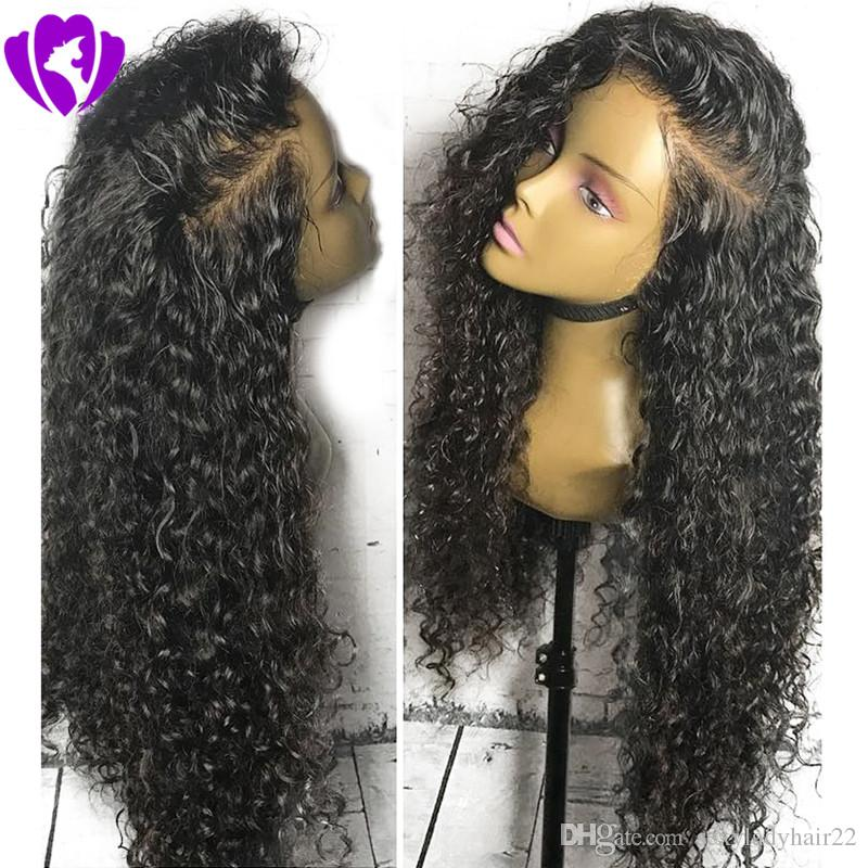 Long side part loose curly Lace Front synthetic wigs Heat Resistant American Kinky Curly Wigs for Black Women