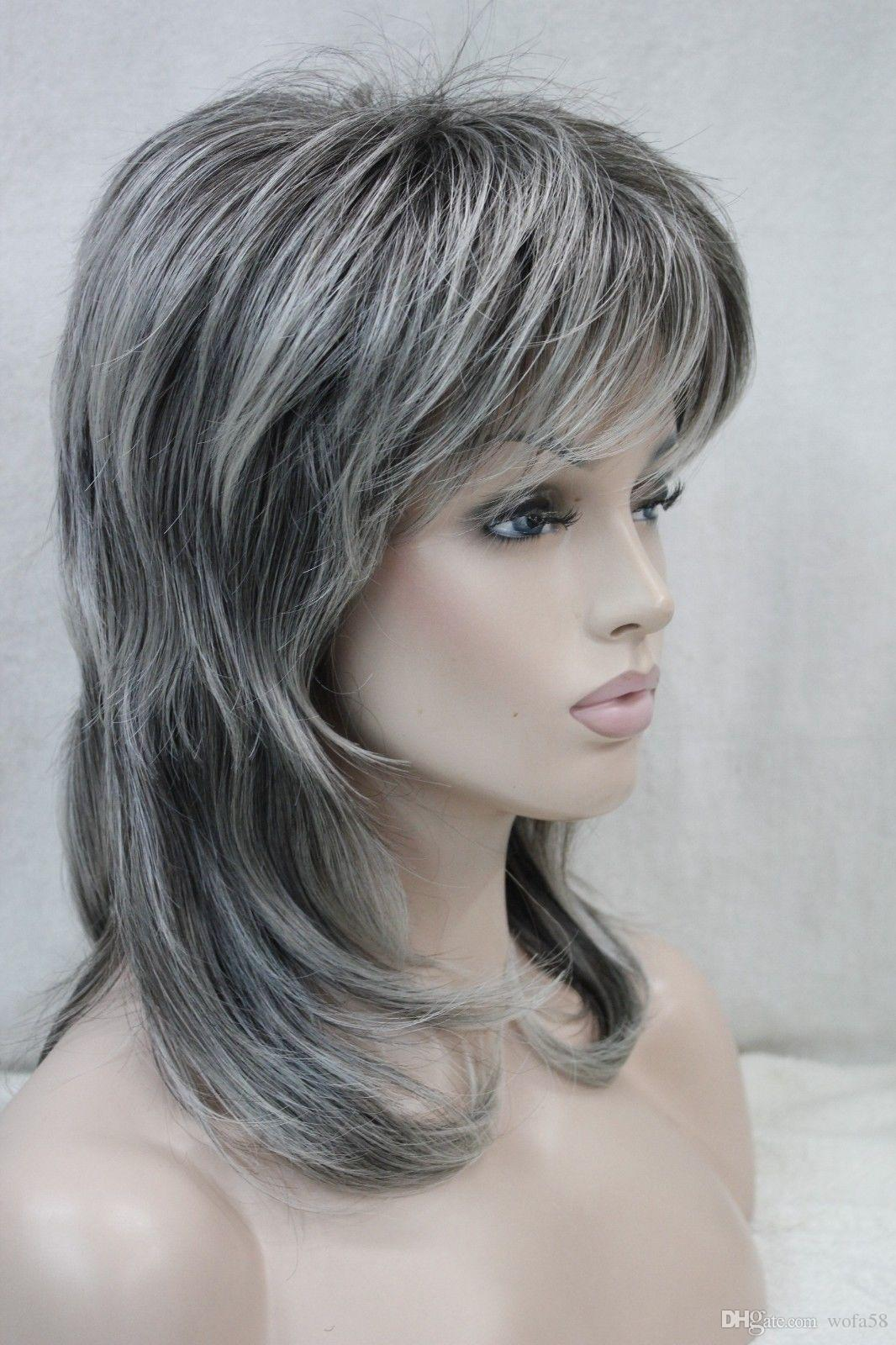 New Women'S Wig Medium Length Grey Layered Shoulder Long Synthetic Hair Full Wig Upart Wig Cap ...