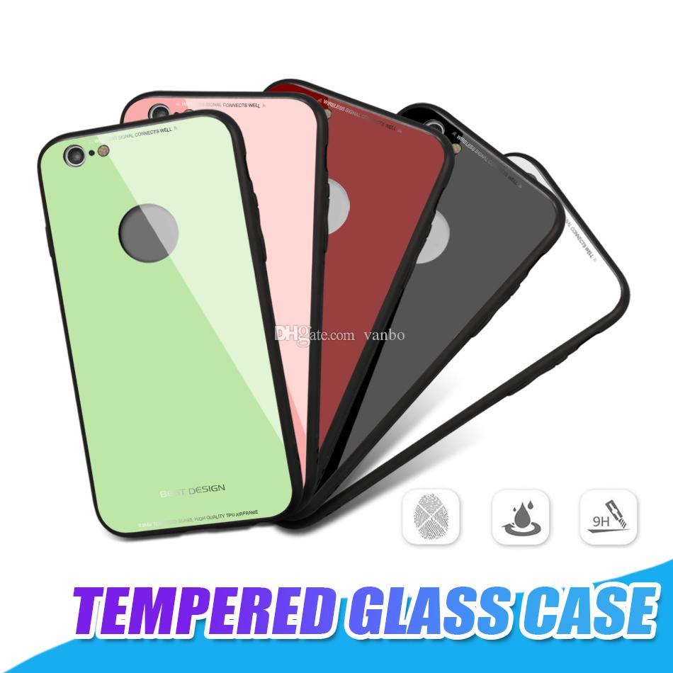 For iPhone X 8 Plus Ultra Thin Tempered Glass Back Cover Phone Cases For iPhone 7 6 Plus Gel Bumper Hard PC Soft TPU Shockproof Case