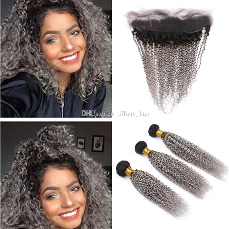 2018 Kinky Curly Ombre Grey Human Hair Weave 3 Bundles With Frontal