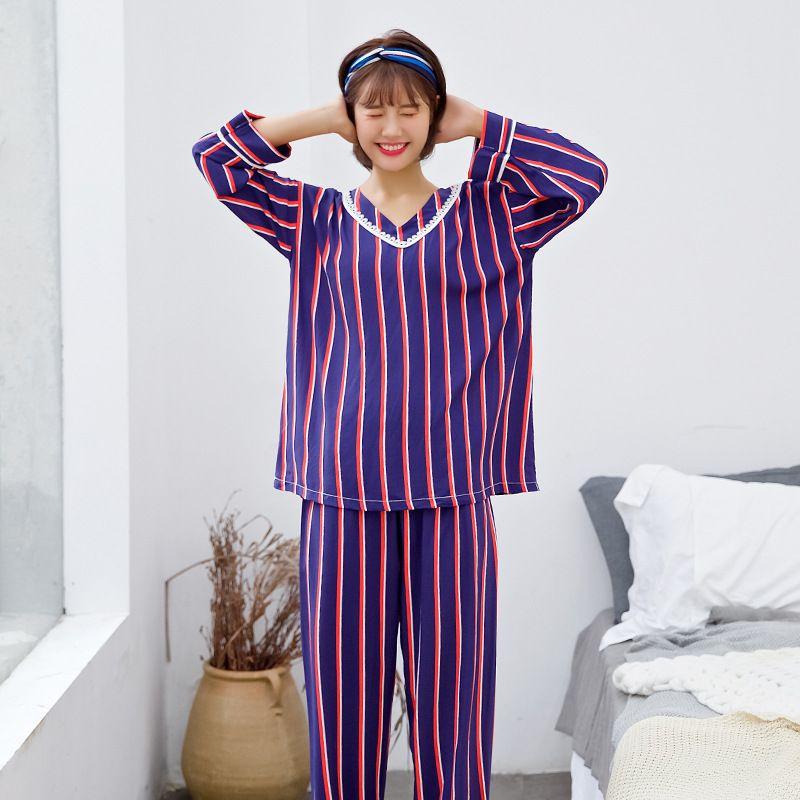 e4f8d76eee Compre Conjuntos De Pijamas Para Mujer Traje De Manga Larga Pijamas Pijamas  De Rayas De Algodón De Verano Conjuntos Ropa De Pijamas De Uso Doméstico  Traje ...