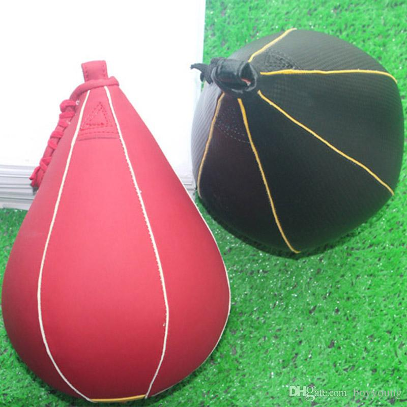 Leather Vertical Speed Ball Training Speed Bag Boxing Pear Punch Inflatable Bag
