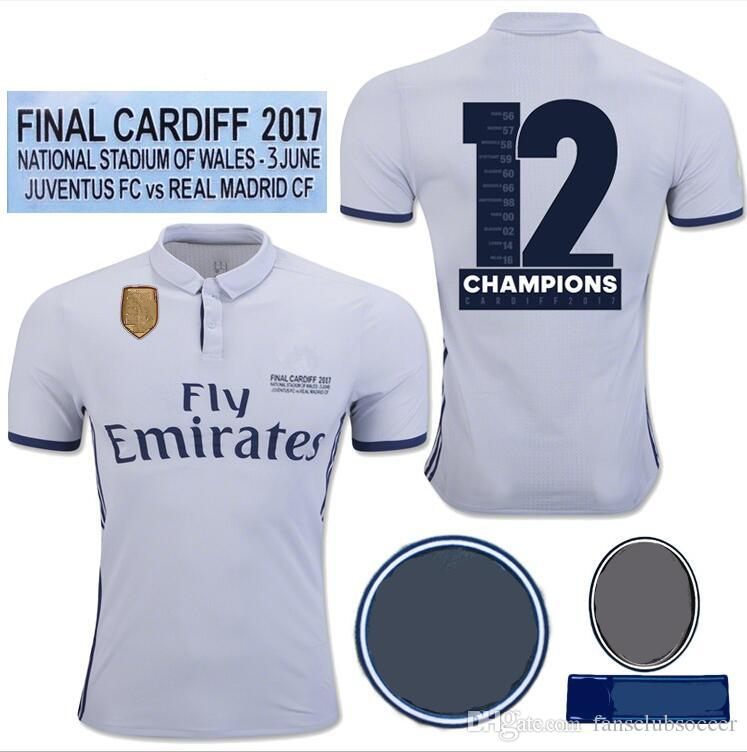 2017 Final Cardiff Real Madrid Soccer Jersey Ronaldo Modric Sergio Ramos  Bale 2016 2017 2018 12 Champions League UK 2019 From Fansclubsoccer 9fce7deb0c1df
