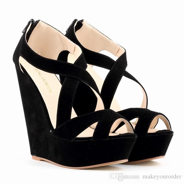 07b36cd33f57 Acheter Bleu Beige Jaune Noir Rouge Rose Couleur Taille 35 42 Talon Haut  Plateforme Talon Compensé Femmes Chaussures Dames Sandales 469 De $50.25 Du  ...