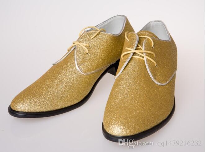 YENI stil erkek ALTıN düğün ayakkabı Mens deri ayakkabı Benzersiz erkekler rahat ayakkabılar boyutu 38-44 b29