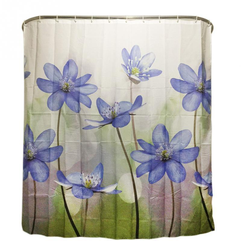 Wholesale Polyester Shower Curtain Purple Blue Big Flower Bathroom Waterproof With 12 Hooks 180X180cm Curtains