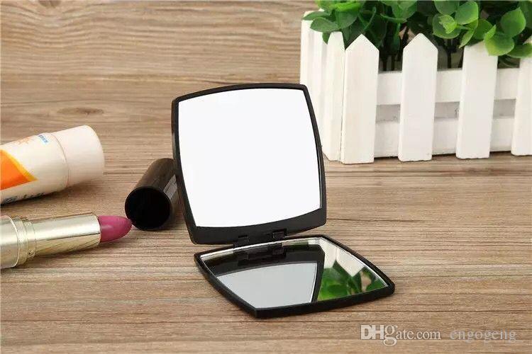 SıCAK satış Katlanır çift yan ayna hediye kutusu ile siyah makyaj aynası Taşınabilir klasik tarzı