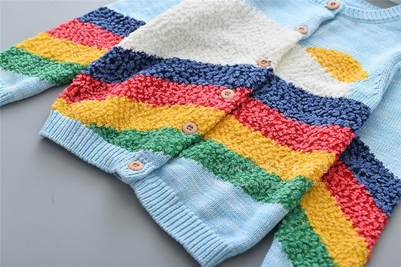 kids girls sweaters rainbow childrens cardigan knitted outwear 100-110-120-130-140 new design 2018spring autumn