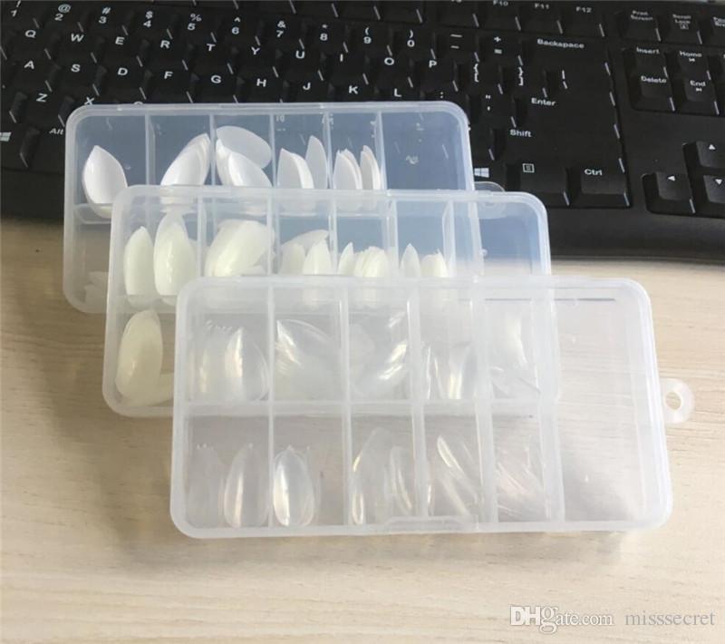 White Beige Clear False Nails Water Drop Shape Fake Nails Short Long Full Nail Tips DIY Artificial Nail Art Tips