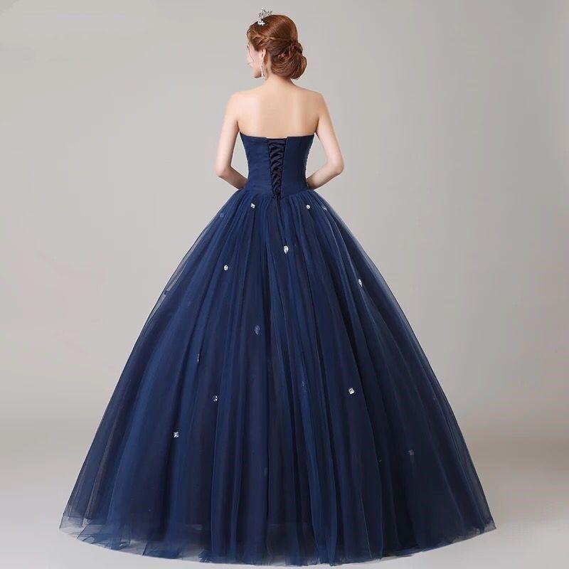 ANGEL NOVIAS Langes Ballkleid Puffy Plus Size Marineblau Kristall Abendkleid 2018