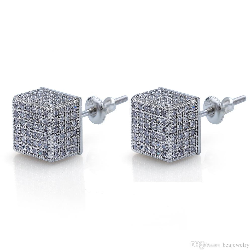 2019 Hip Hop Earrings Gold Silver Iced Out Micro Pave CZ Square Earring Lab  D Stud Earring With Screw Back From Beajewelry 463bfb3ab85