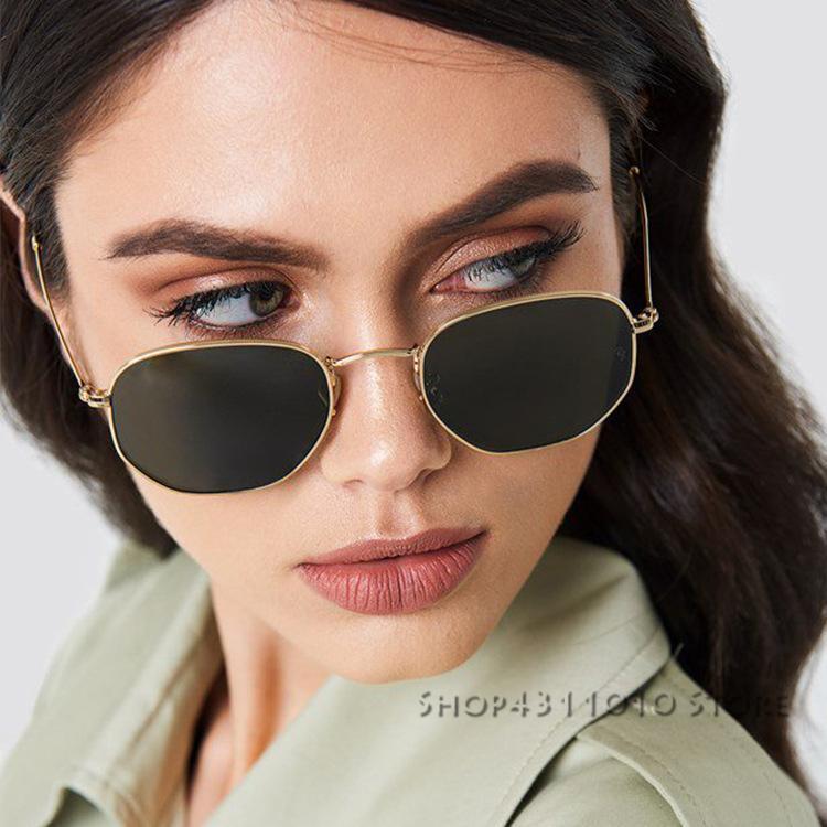 13a2eadaa5 women s Hexagonal Sunglasses brand Shades Metal Flat Lens Ladies Glasses  Unisex Oculos mens designer sunglasses vintage lunettes