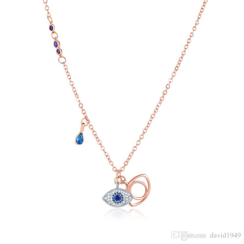 Wholesale Blue Evil Eye Pendant Necklaces Rose Gold Chain Necklaces Blue Eye  Crystal Pendants Women Jewelry Holiday Gift Name Necklace Gold Necklace  From ... 2d3a58498e