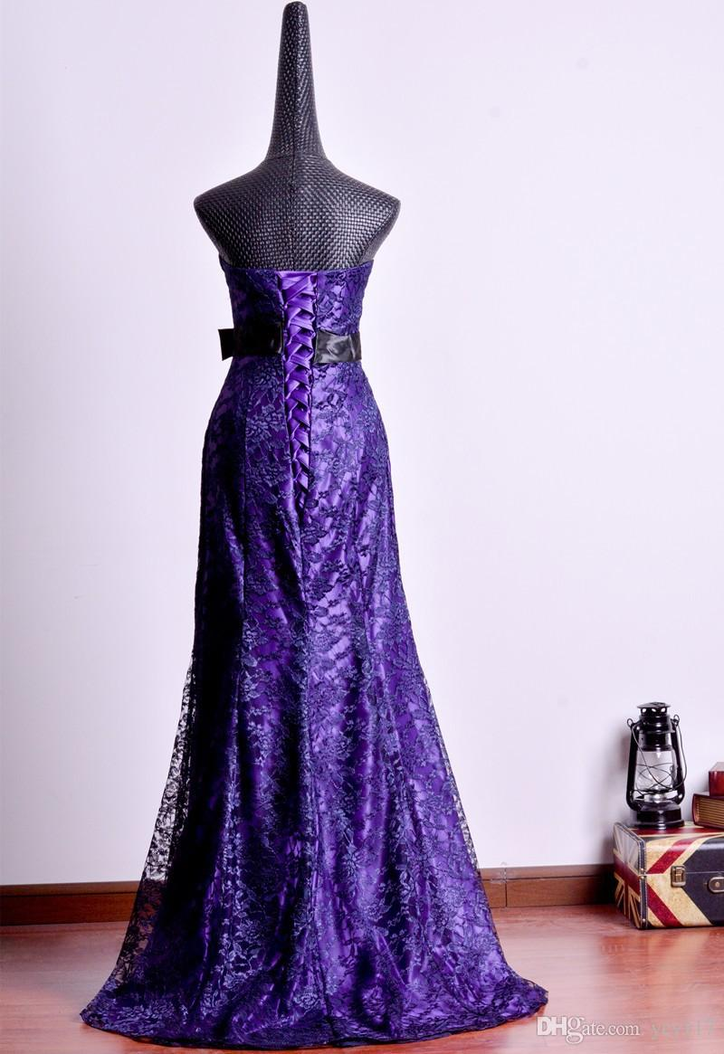 Discount Strapless Mermaid Black Purple Lace Wedding Dress Bride Of ...