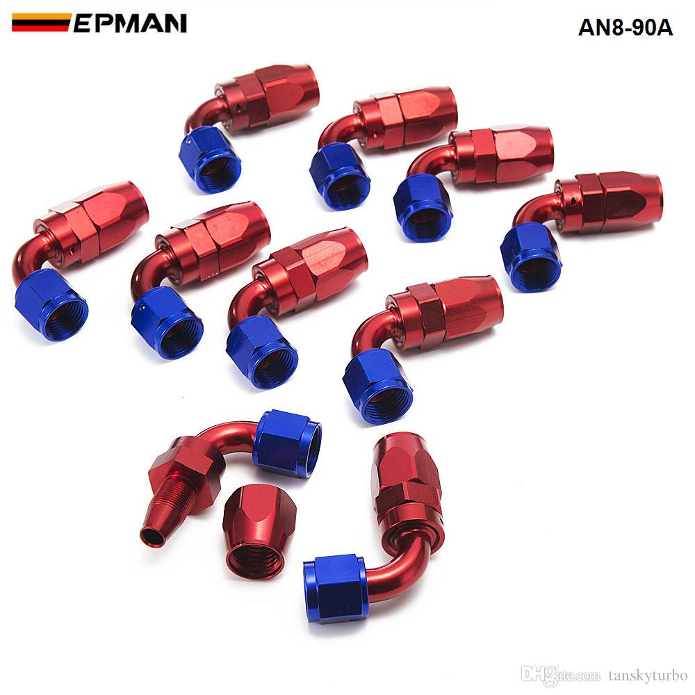 EPMAN -/set 90Degree High Performance AN8 Hose End Fitting Aluminum Oil cooler hose fitting AN8-90A