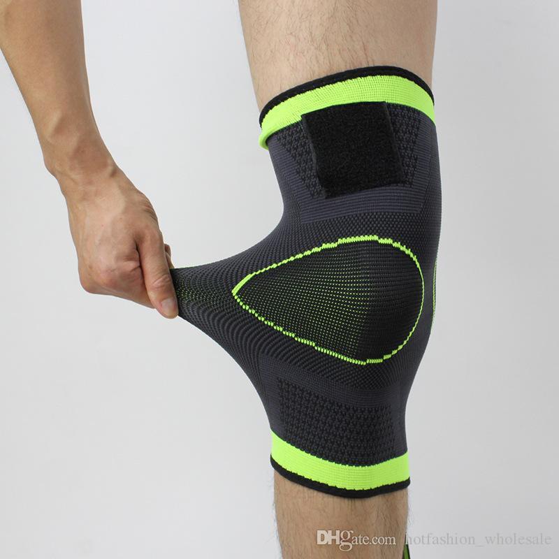 Soporte correas presurizados Deportes rodilleras Vendaje de la pierna Deportes manga guardias de seguridad rótula de ratón Baloncesto Ciclismo Senderismo rótula