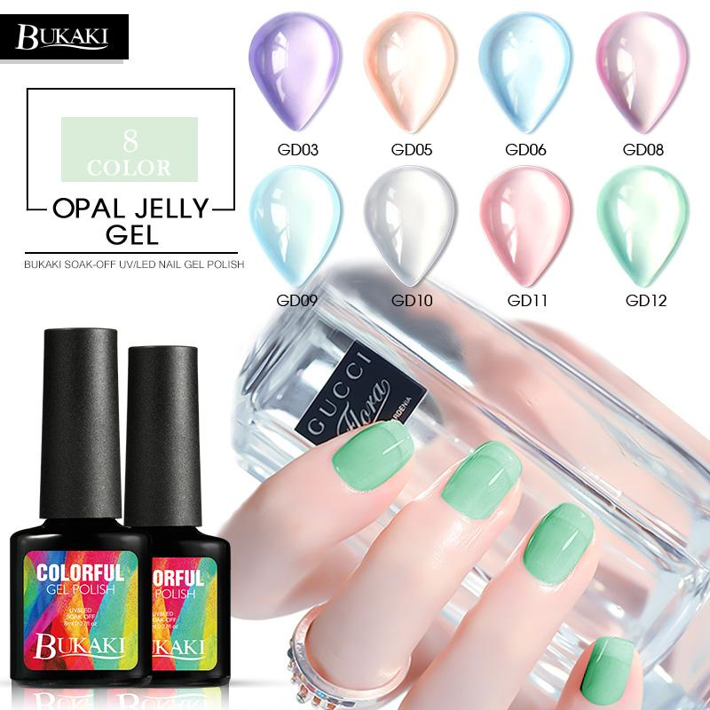 Bukaki French Opal Jelly Nail Polish Nail Art Uv Gel Varnish Hybrid