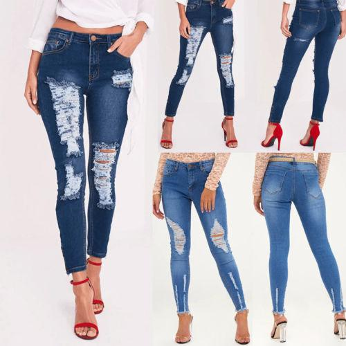 51e1bb42948bdb 2019 Ladies Womens Hole Brief Casual Capris Pant Women Skinny Ripped Holes Jeans  Pants High Waist Stretch Slim Pencil Trousers From Lin_and_zhang, ...