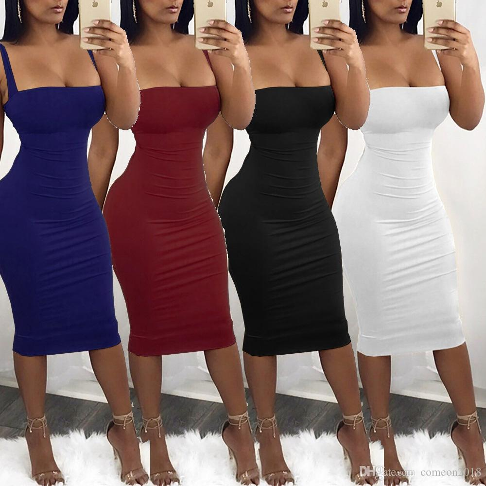 b7c6ebe9b95 Women Clothes Sexy Women Bodycon Dresses Spaghetti Strap Solid Color ...